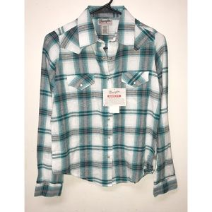 Wrangler Flannel Shirt Wrancher Plaid Sz S NWT